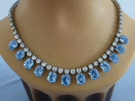 1940s Sparkly Necklace with Large Aqua Jewels on Diamante  - Top Quality SOLD